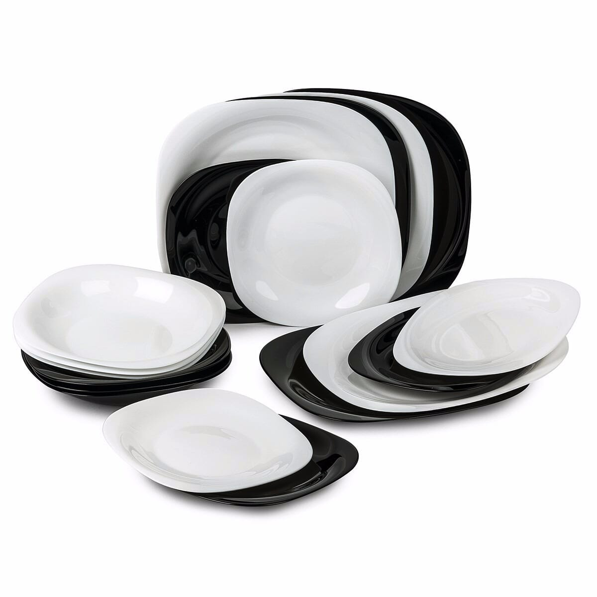 Luminarc Dining Sets 19 Pcs Carine Black and White Plates Bowls  sc 1 st  eBay & Luminarc Dining Sets 19 Pcs Carine Black and White Plates Bowls ...